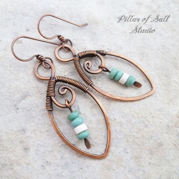 Copper wire wrapped Leaf earrings with turquoise/white beads - Pillar of Salt Studio.