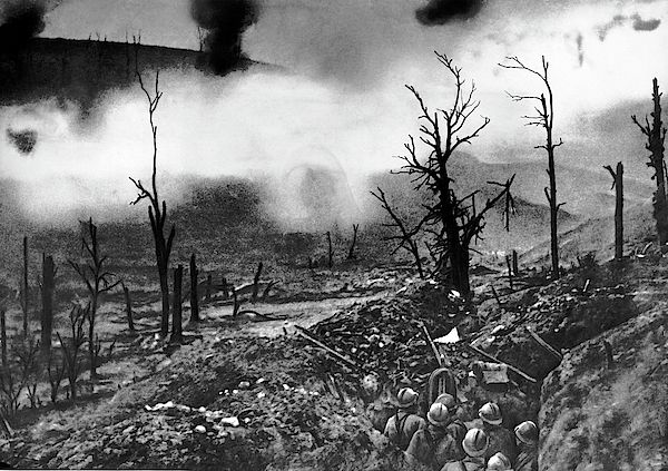 Verdun, France June, 1916. French infantry facing a curtain of fire in front of Fort Vaux, Verdun.