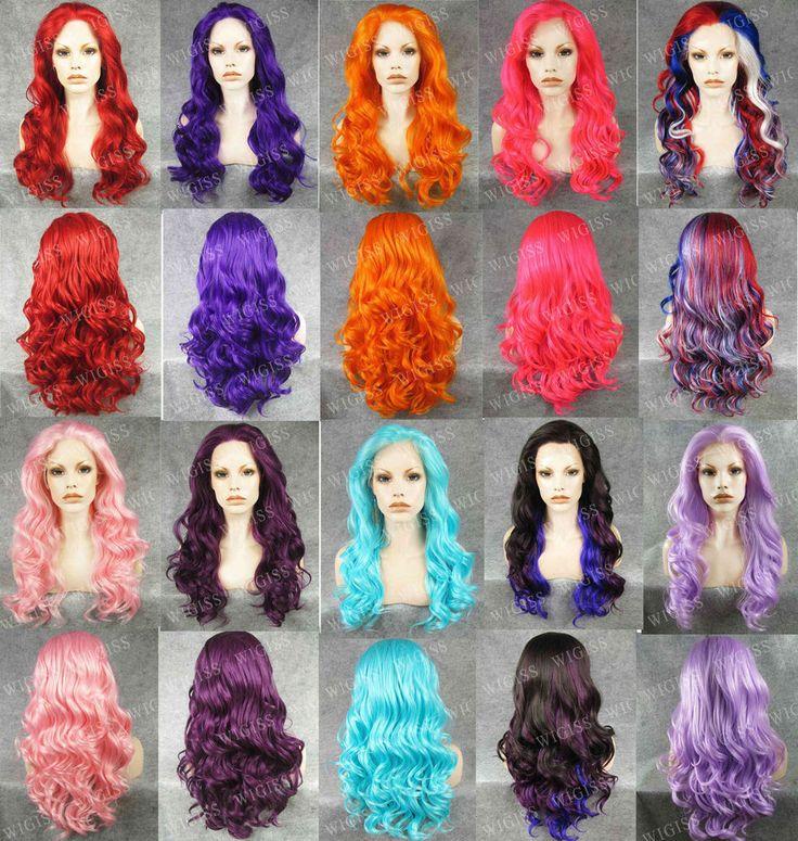 "24""Lace Front Long Deep Wavy Wig 100% Kanekalon Elegant Lady Wig 10 Colors ! #Wigiss #FullWig"