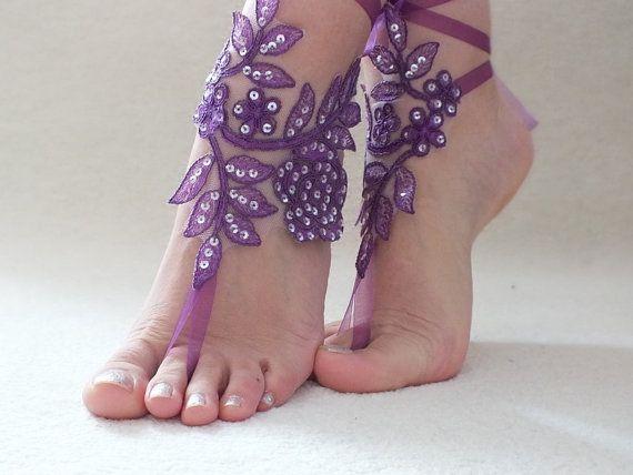Purple barefoot sandals beach shoes bridal sandals by ByVIVIENN