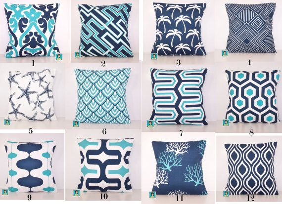 mix and match outdoor pillow cover navy and turquoise pillow sham various sizes turquoise pillow accent pillow