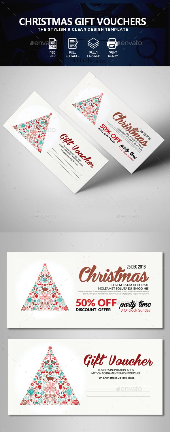 Christmas Gift Voucher Template PSD
