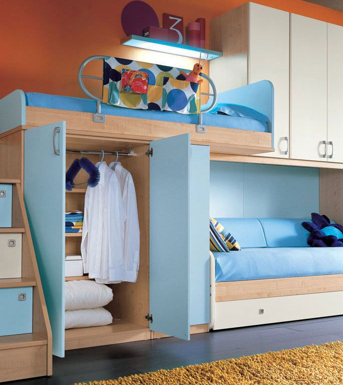 cool teen bedroom design ideas 2011 orange wall and sea blue color bunk beds furniture - Orange Teen Room Decor