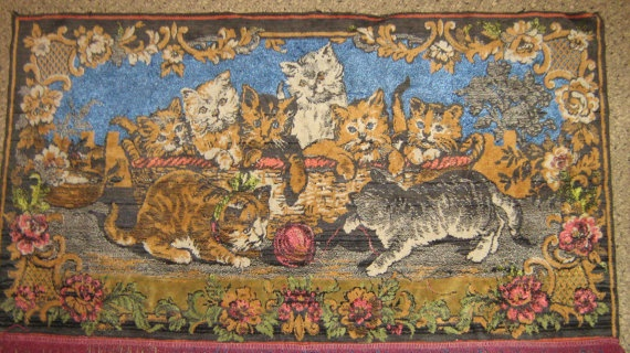 Large Vintage Plush Wall Tapestry Wall Rug by HandyHappyVintage, $38.00