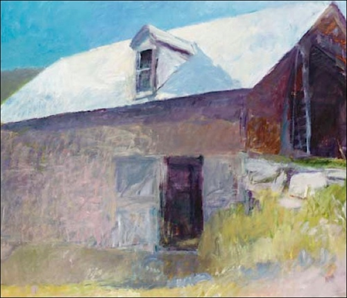Wolf Kahn Blue Barn Painting