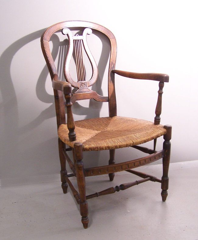 Country French Chairs | Item 6625 Country French Rush Seat Arm Chair C1900  Country French Rush