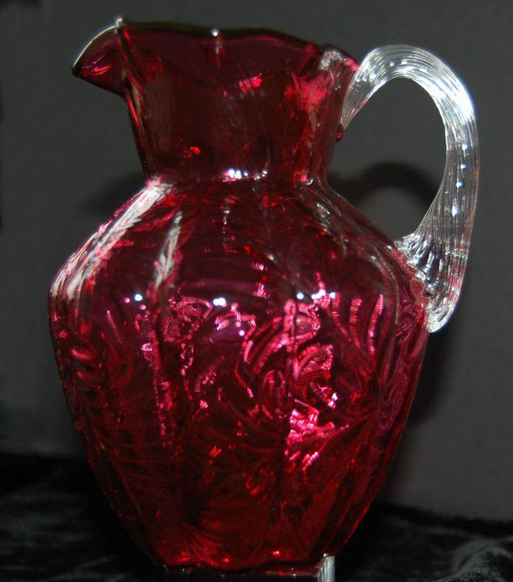 Cranberry Glass Pitcher.