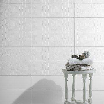 carrelage mural dcor relief cube artens en faence blanc brillant 25 x 75 cm - Carrelage Salle De Bain Blanc Relief