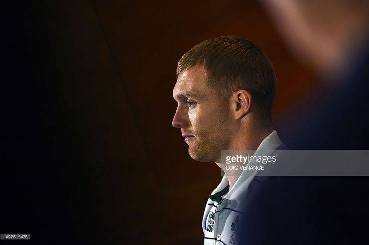 Ireland's centre Keith Earls gives a press conference in Cardiff, south Wales, on October 14, 2015, during the 2015 Rugby Union World Cup. Ireland will face Argentina a quarter-final match on October 18, 2015 at the Millennium Stadium in Cardiff, with injury and suspension ruling out three players, and doubts remaining over injury-hit fly-half Jonny Sexton.
