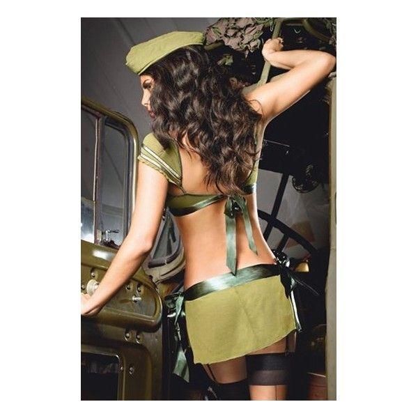 DISFRAZ DE CORONEL Disfraz de coronel de 3 piezas formado por un conjunto de top y falda de color verde y gorra a juego. No incluye el resto de accesorios.