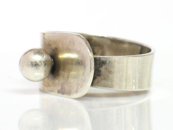 Erik Granit Sterling Modern Ring Helsinki Finland 1974 by june2six, $145.00