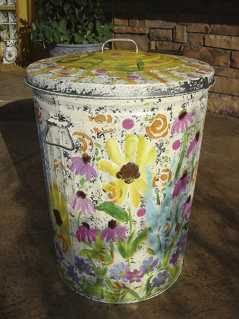 Best Art Garbage Bins Images On Pinterest Painted Trash Cans - Artist turns nyc trash cans into giant flower filled vases