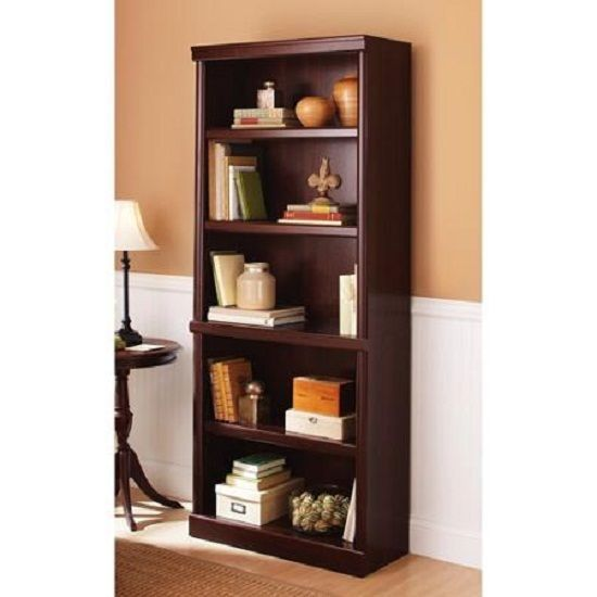 "Home Office Wooden 71"" Tall 5 Shelf Bookcase Adjustable Shelves Library Cherry #BBOHOME #Contemporary"
