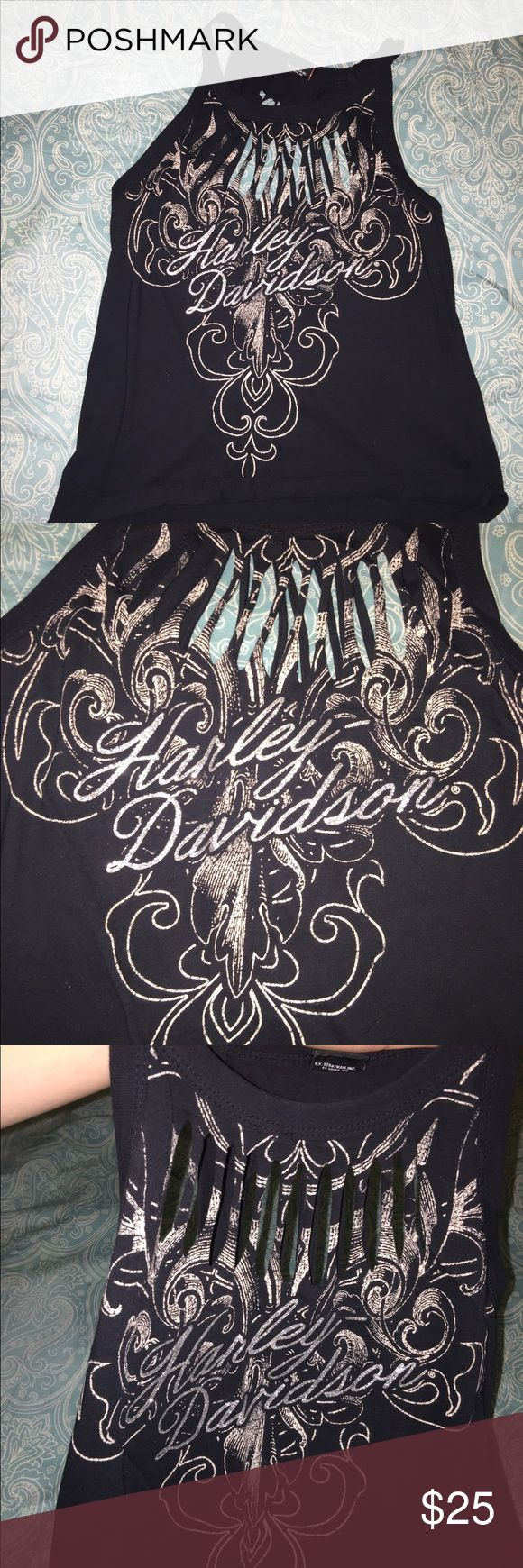 Harley Davidson women's ripped Sexy Top XS Sexy YET super cute Women's Harley Davidson slashed / ripped tank top. Size XS. You definitely won't wanna miss this one! Harley-Davidson Tops