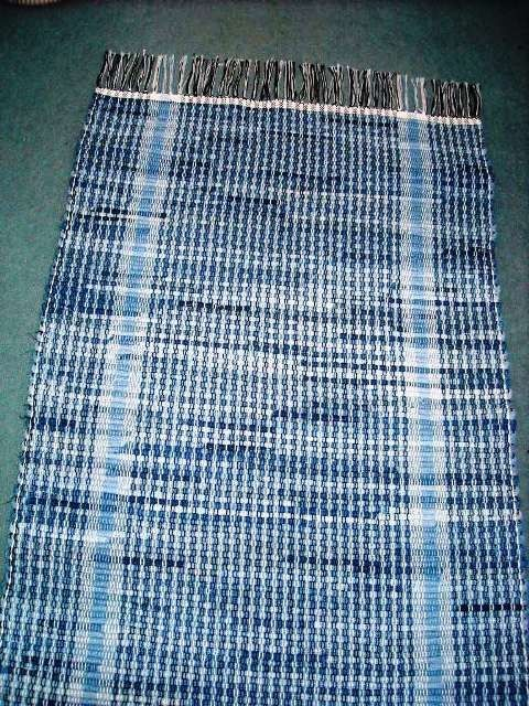 MADE IN AMERICA Go Green, Amish Handwoven Blue Jean Rug Recycled, 77 Inches. $92.40, via Etsy.
