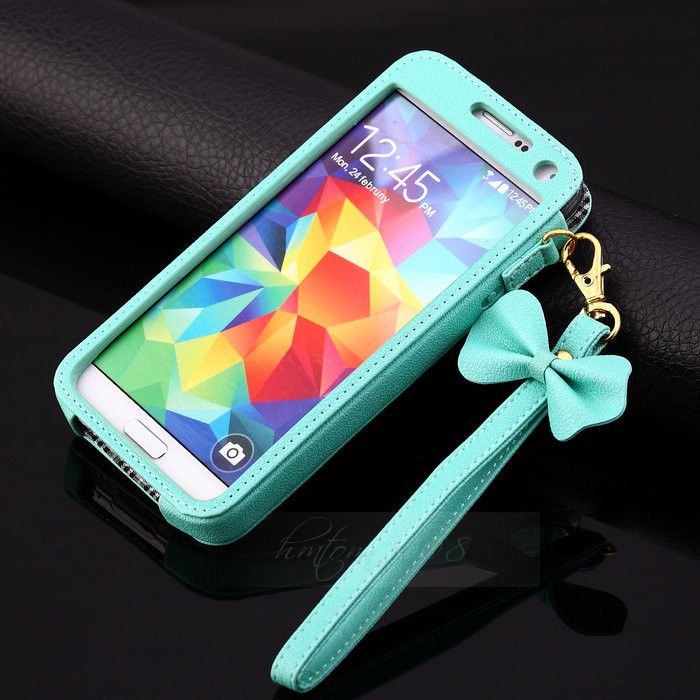 7.59 plus free shipping  BOW Chain Wristlet Strap Pouch Sleeve Leather Case for Samsung Galaxy S5 I9600 #UnbrandedGeneric