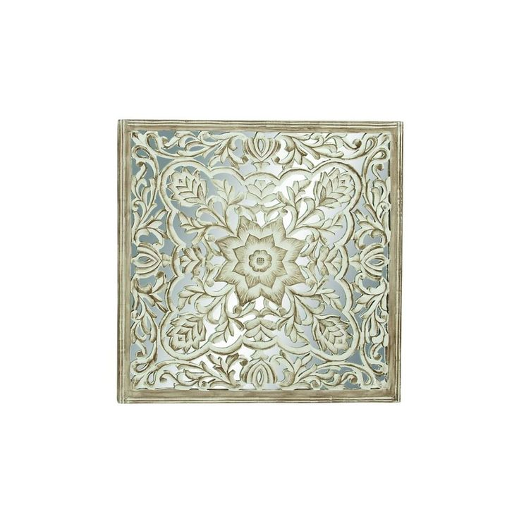 Wood and Glass 48-inch Carved Wall Panel