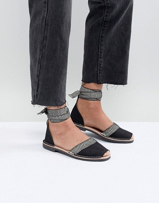 ad575c0b4 Solillas Black Leather Ankle Tie Menorcan Sandals