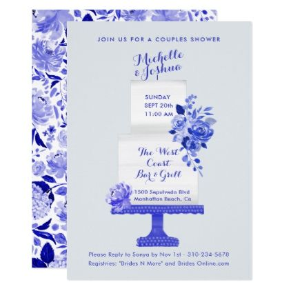 Wedding Party Names Cake Topper Blue Floral Card - invitations custom unique diy personalize occasions