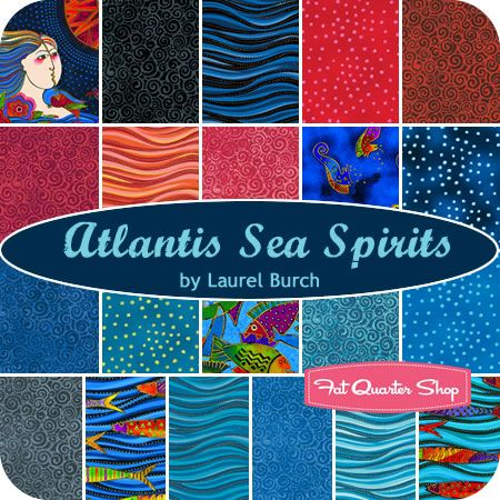 Atlantis Sea Spirits Fat Quarter Bundle Laurel Burch for Clothworks FabricsFat Quarter