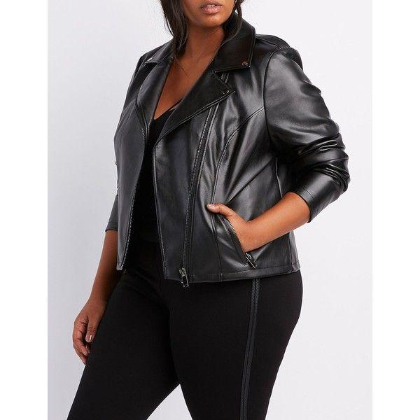 Charlotte Russe Faux Leather Moto Jacket ($29) ❤ liked on Polyvore featuring plus size women's fashion, plus size clothing, plus size outerwear, plus size jackets, black, plus size biker jacket, motorcycle jacket, moto jacket, faux-leather moto jackets and faux leather motorcycle jacket