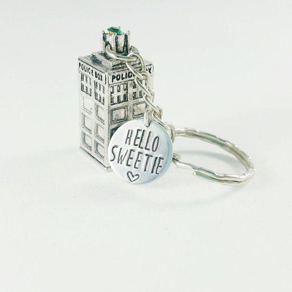 TARDIS Keychain - arts die geïnspireerd - Bad Wolf - Snog box - Hallo lieverd
