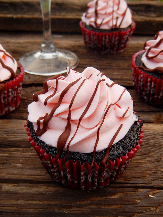 A recipe for chocolate wine cupcakes. These dark chocolate cupcakes are infused with sweet red wine and topped with a rich whipped red wine frosting.