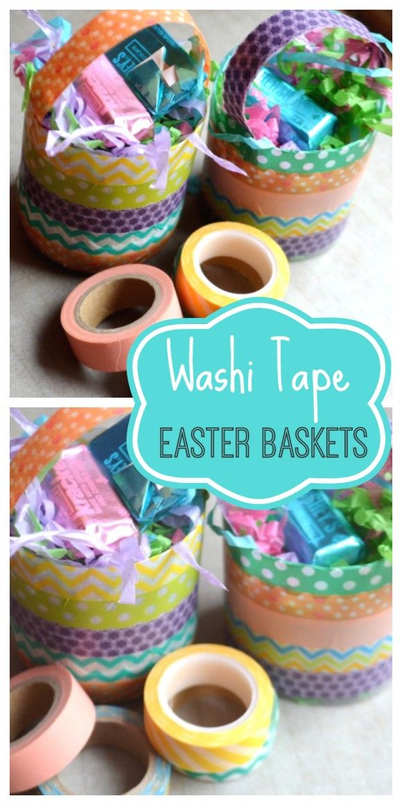 Learn to make these cute Easter baskets using plastic bottles and washi tape! Great DIY! | CatchMyParty.com