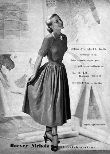 Harvey Nichols - Corduroy dress by Dorville 1948 myvintagevogue.com