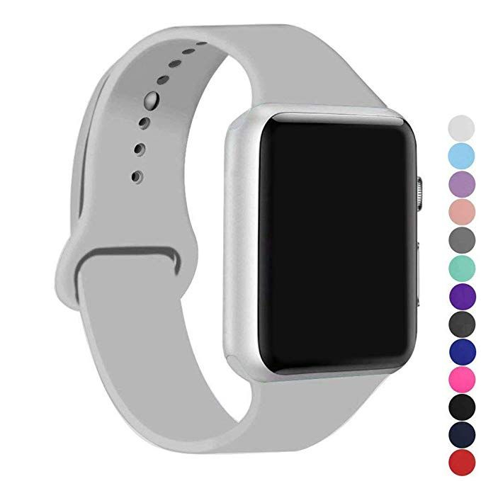 Ic6space Apple Watch Band Premium Soft Silicone Sports Replacement Strap For Apple Watch Series 3 Series 2 Series 1 38mm Or 42mm Clouds Gray 38mm S M Review Apple Watch Bands Apple Watch Watch Bands