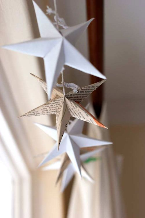Another idea for my old barn window - string paper stars to the chicken wire.