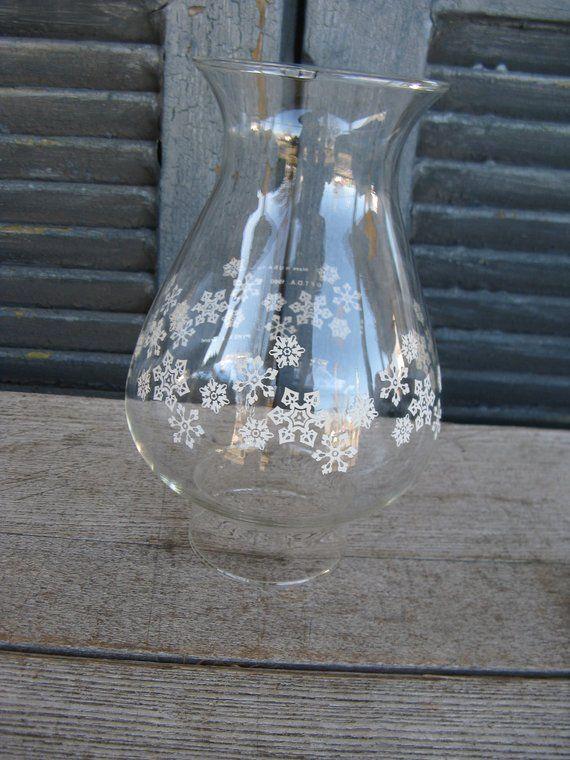 Pyrex Snow Flake Hurricane Shade Bulbous Shape Oil Lamp Etsy Oil Lamps Electric Lamp Pyrex