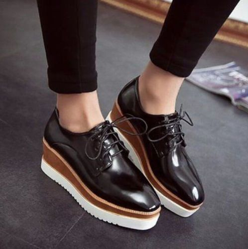 Fashion Punk Square Toe Womens Lace Up Oxfords Low Wedge Heels Shoes  Platform