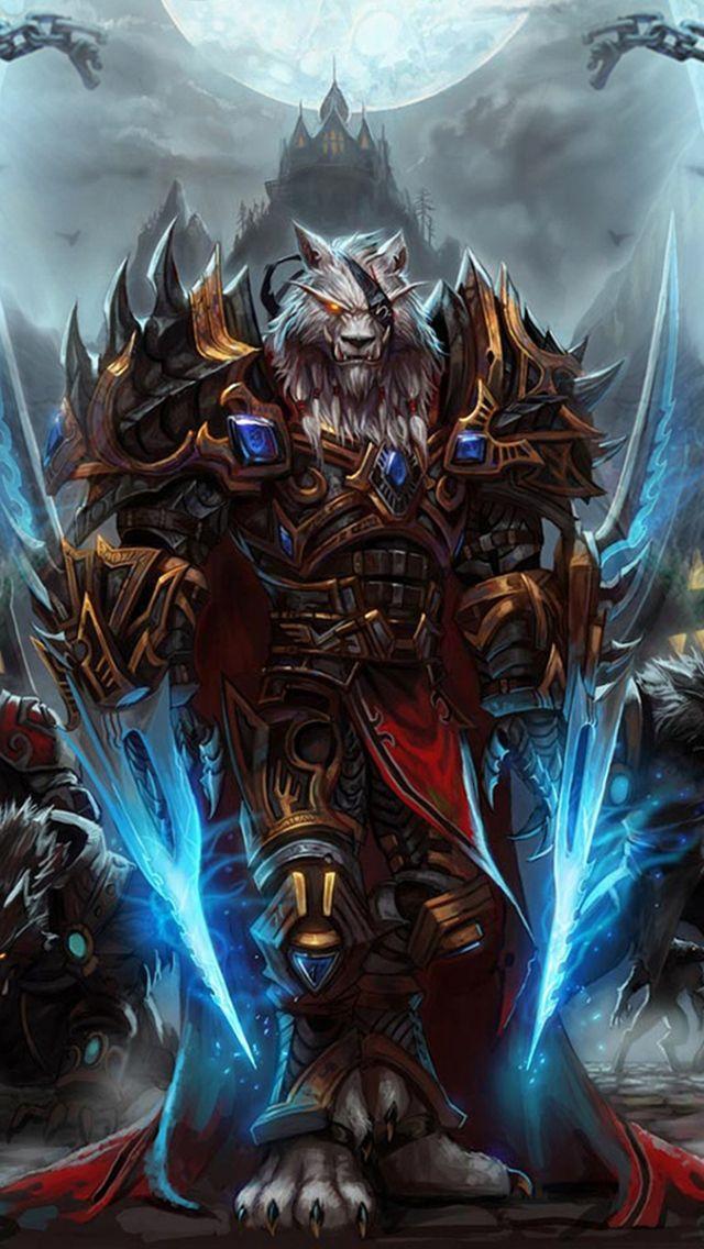 640x1136 Обои world of warcraft, worgen, персонаж, оружие, гора