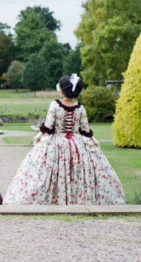 Marie Antoinette Colonial 18 century dress Warwick Castle and admired by the future King HRH Prince Charles