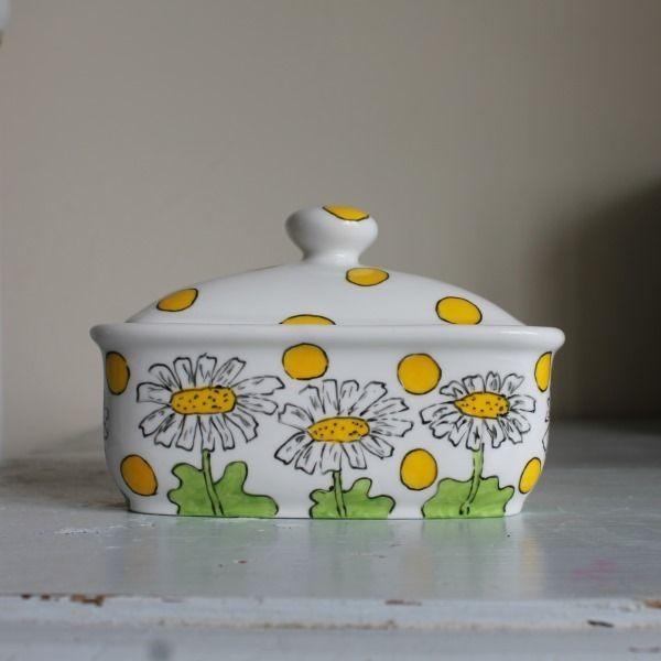 Daisies butter dish hand painted fine bone china yellow sunny daisies £30.00