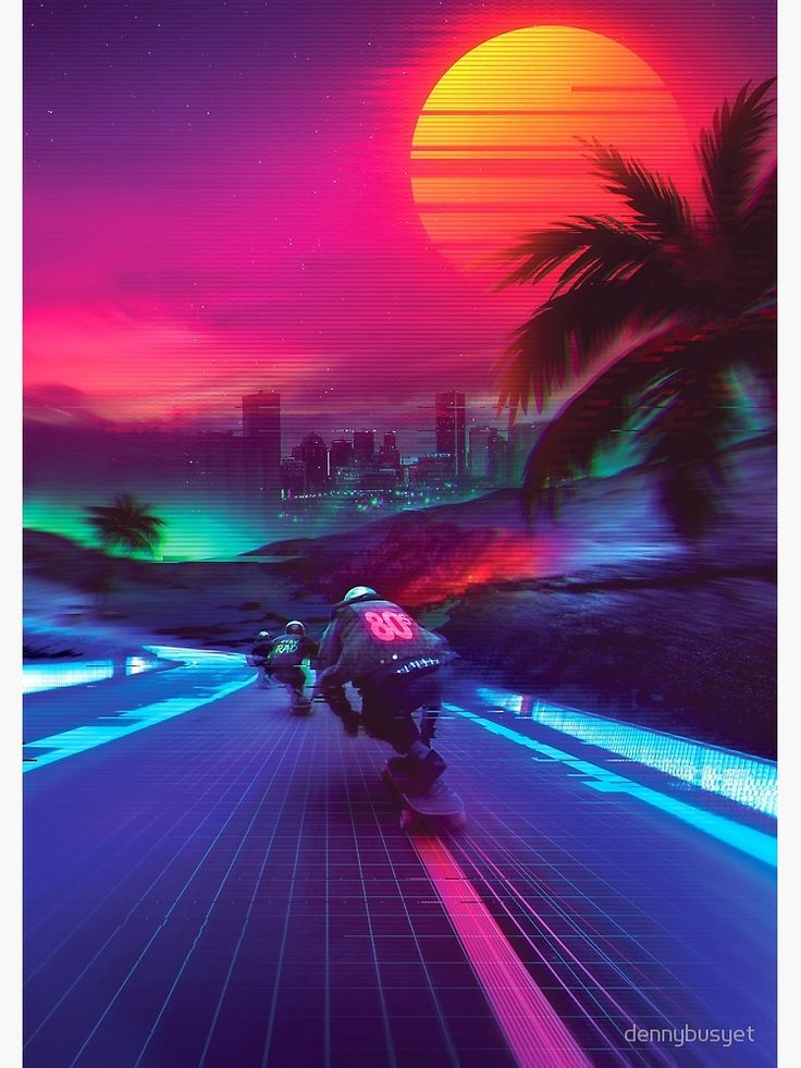 'Synthwave Midnight Outrun' Poster by dennybusyet in 2020 ...