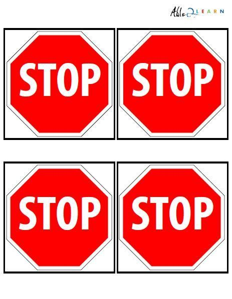 Stop Sign Flashcards 3 Pages Flashcards Life Skills Classroom Autism Education