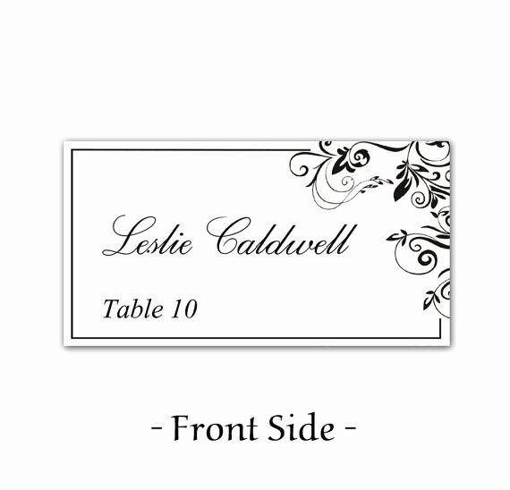 Wedding Name Card Template Fresh Instant Download Classic Elegance Black Leaf Ornate Free Place Card Template Place Card Template Wedding Place Card Templates