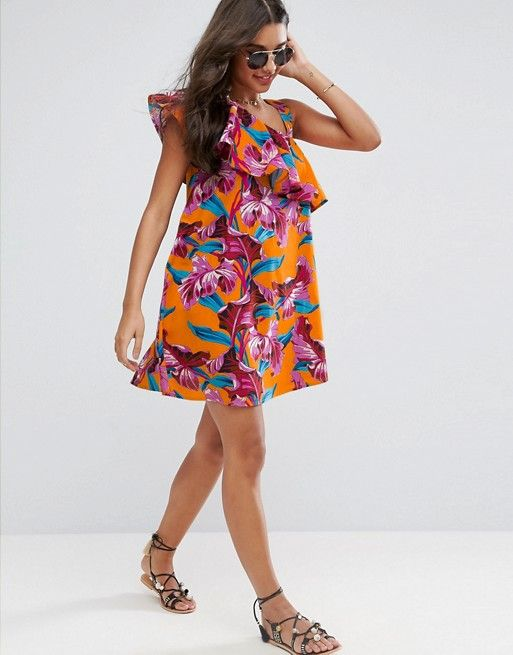 4feb868571 One Shoulder Ruffle Sundress in Bright Tropical Print