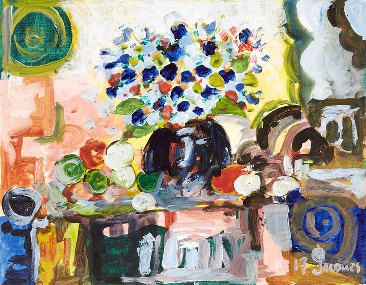 Jacques table fruits flowers original artwork unique artwork and fine art