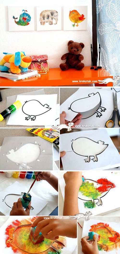 Stencil & sponge kids craft idea