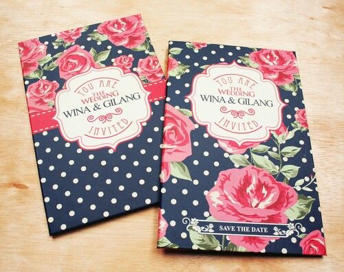 Hardcover red blue floral