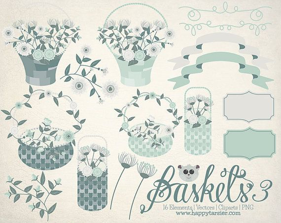 Baskets 03 Flowers Floral Vector Graphics Clipart by HappyTarsier