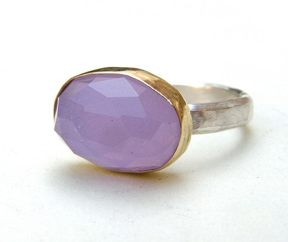 Gold and Silver Purple Violet Chalcedony stone ring from chop007 on #etsy