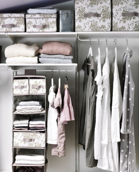Sharing a closet with your little one?  Closet organizers, like GARNITYR, help sort little folded clothes, like onesies, t-shirts, and pajamas.