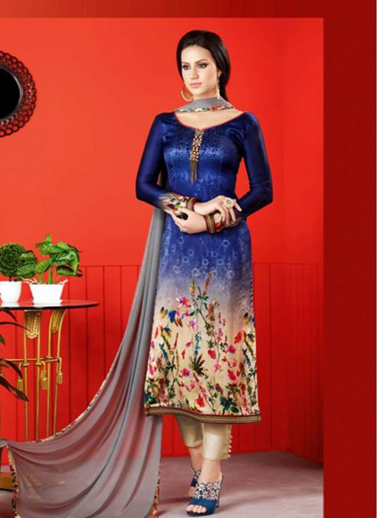 Satin Cream and Blue Colored Churidar Salwar Kameez