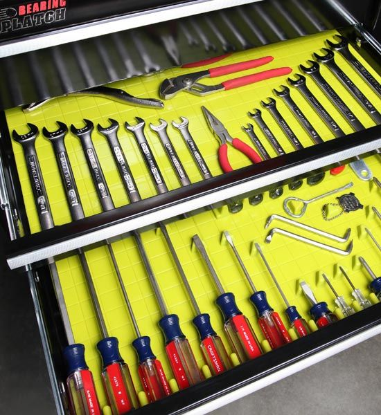 Eliminate drawer chaos and organize your hand tools with this handy lime Tool Drawer Organizer and Liner. Our silicone liner has a high quality, non-slip surface to keep your screwdrivers and other tools in place. Fifteen accessories called Divitz are included for organizing your tools. Five long, five short, and five triangle shapes will be plenty to get you started in tidying drawers. These are also customizable and can be easily trimmed to fit many different drawer sizes. Integral to this…