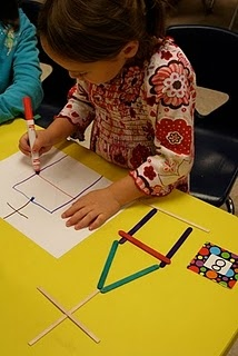 Popsicle stick math...choose number and count out that number of sticks, build with stick, then draw pic to match