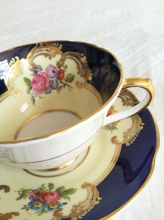 Antique Collingwood Cobalt Blue Fine Tea Cup and Saucer Elegant Tea Party Fine Bone China Wedding Gift